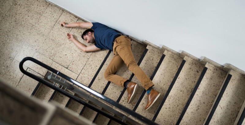 Man unconscious after slipping on stairs
